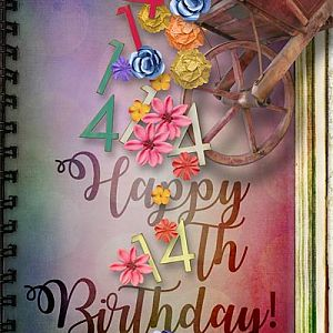 Happy 14th Birthday Card for Oscraps