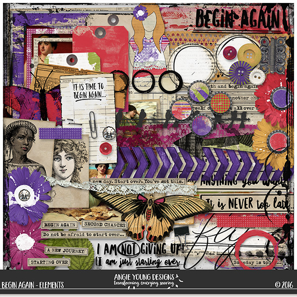 Angie Young Designs- Begin Again kit available at Oscraps