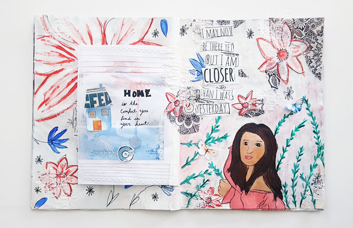 Page 2 of a Hybrid Art Journal with Insert, Theme is change- by Christy Strickler