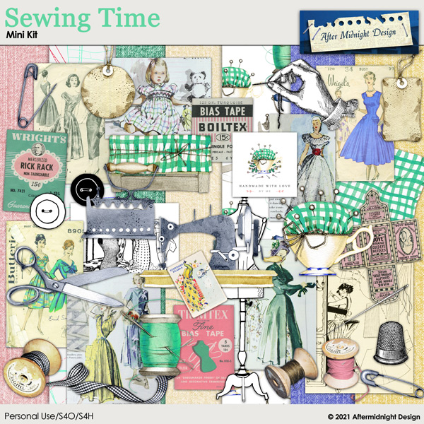 Sewing Time Mini Digital Scrapbook Kit by After Midnight Designs