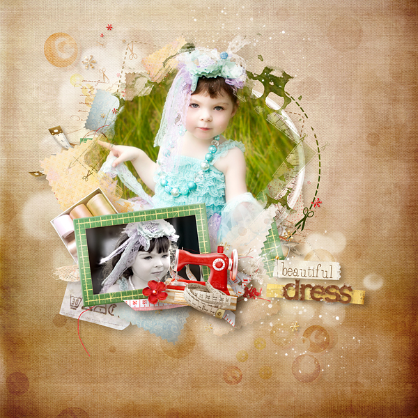 Digital scrapbook layout using In My Sewing box by NLD Designs