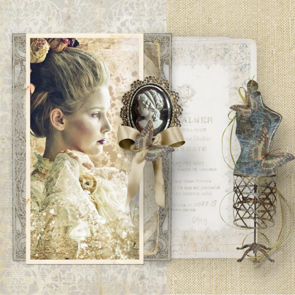 Digital scrapbook layout using My Antique Life by Veronica Spriggs