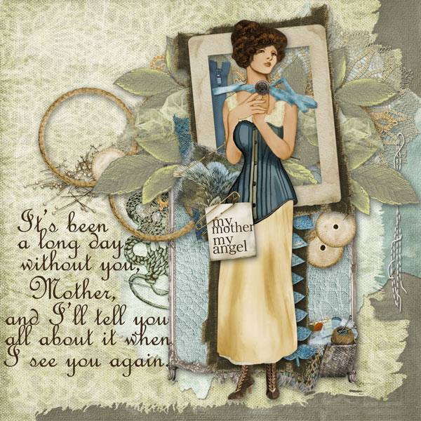 Digital scrapbook layout using Pins and Needles by Lynne Anzelc Designs