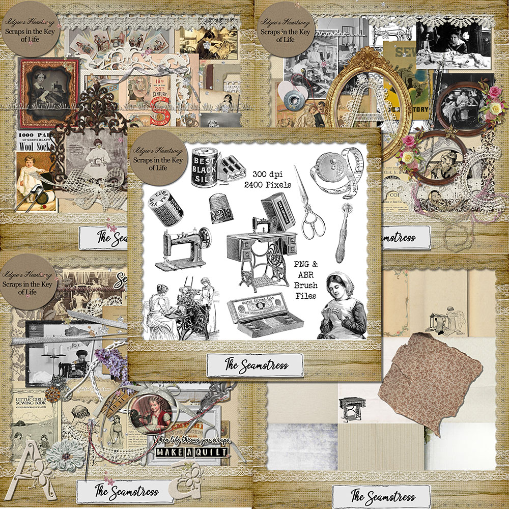 The Seamstress Digital Scrapbook Kit by Idgie's Heartsong