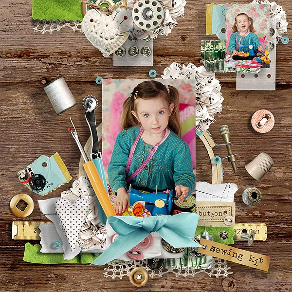 Digital scrapbook layout using My Sewing Nook by et designs