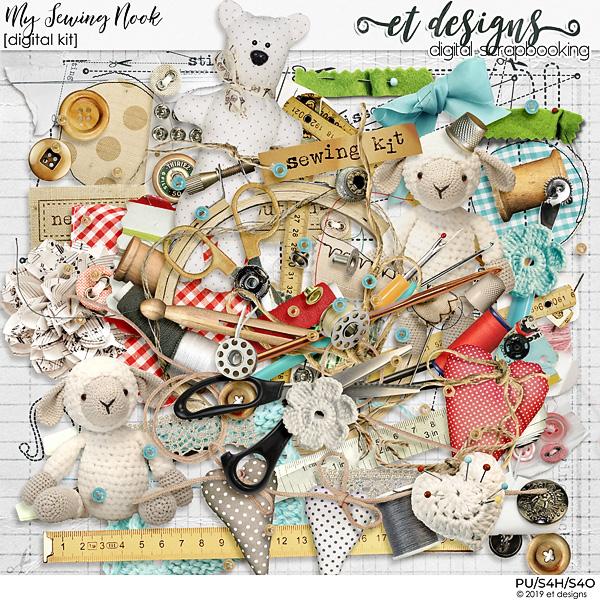 My Sewing Nook Digital Scrapbook Kit by et designs
