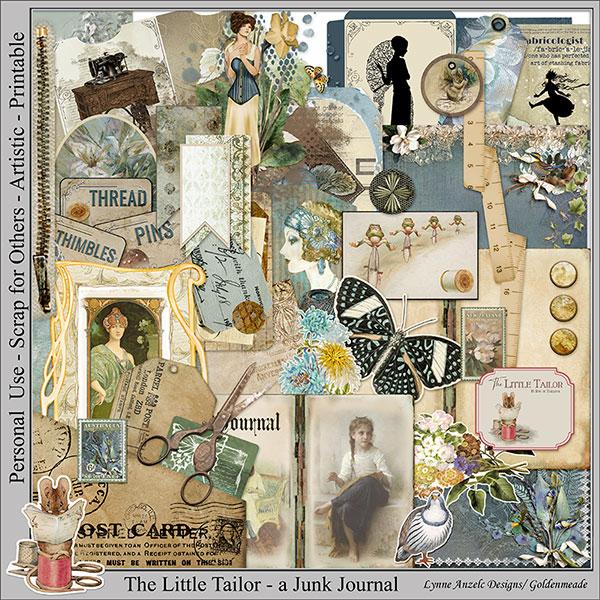The Little Tailor Digital Scrapbook & Junk Journal Kit by Lynne Anzelc Designs